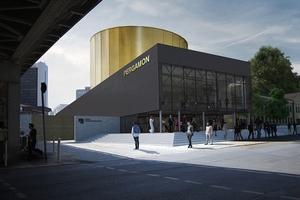 """Ausstellungsbau """"Pergamon. Das Panorama"""": Visualisierung Eingangssituation am Kupfergraben"""