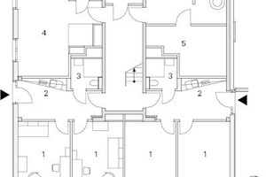 Grundriss Erdgeschoss Haus 1 und 3, M 1:250