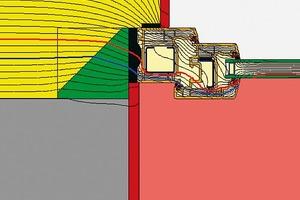 Bauphysikalisch beste Isothermenverläufe im illbruck Vorwandmontage-System (grün-gelbes Quadrat): Sowohl die 10°- als auch die 13°-Isotherme befinden sich im sicheren Bereich