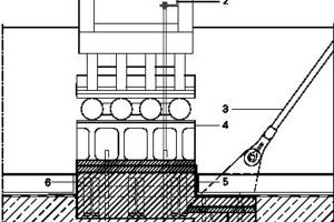 Detail LängsschnittFußpunkr Binder, M 1: 331/3Legende Fußpunkt Binder_längs<br /><br /><br />1Binder, Historisch<br />2Erdungslasche<br />3Zugstabsystem zur Aussteifung der  historischen Konstruktion<br />4Gusseisenteil historische Konstruktion<br />5Niro-Haube zur Einbindung Binderfuß<br /> in Bauwerksabdichtung<br />6Verguss