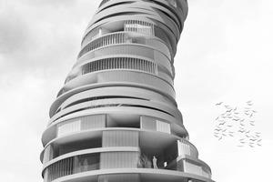 Perspektive: Der Wohnturm windet sich wie ein Spirograph in die Höhe<br />