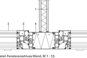 Detail Fenster-Wandanschluss, M 1:7,5