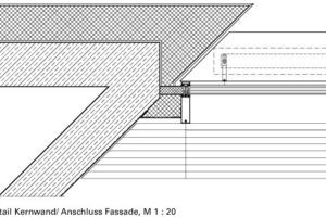 Detail Kernwand/Anschluss Fassade, M 1:20<br />