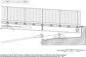 Längsschnitt durch die Fahrbahn im Bereich des Fundamentes, M 1:50