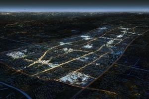 """""""Zhangjiang Science and Technology City"""". Die Clusterbildung ist bei Nacht gut zu erkennen"""