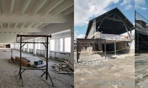 v. l.: Falsche Säulen am Torhaus, Raum für Ausstellungs-Inlay, Unterfangungsarbeiten, Gebäudedurchbrüche