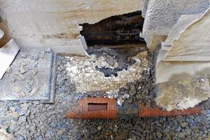 Abb.7: Übergang zwischen Wand-Dränschicht und Dränrohr