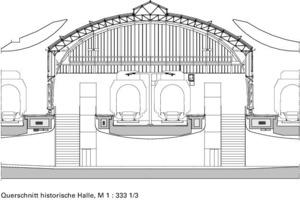 Querschnitt historische Halle, M 1 : 3331/3