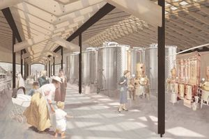 Breite Gänge zwischen den Hallen ermöglichen den Besuchern Einblicke in die Produktion und fungieren zugleich als Zirkulationsflächen für die Produktion