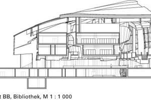 Schnitt BB, Bibliothek, M 1:1000<br />