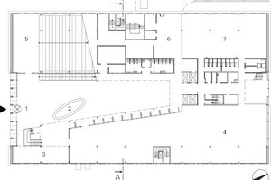 Grundriss EG, M 1:750 1 Eingangshalle<br />2 Information<br />3 Restaurant<br />4 Ausstellungen<br />5 Auditorium<br />6 Versand<br />7 Fahrradparkhaus<br />8 Parkebene<br />9 Büros<br />10 Cafe-Terrasse<br />