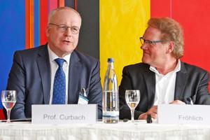 Institutsdirektor und Professor für Massivbau Univ.-Prof. Dr.-Ing. Dr.-Ing. E. h. Manfred Curbach und Burkhard Fröhlich, Chefredakteur der DBZ Deutsche BauZeitschrift