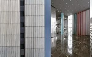 Ringsum Baustelle am Kö-Bogen. V. l.: Dreischeibenhaus, Südansicht Fassade mit Fugenoptik, Foyer, Edelstahlbleche, Vorfahrt