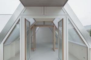 Blick aus der Dachloggia auf das Dachgeschoss