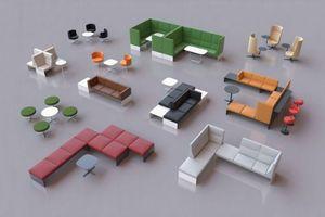 banc, das modulare Loungesystem von Brunner wurde von jehs+laub aus Stuttgart entworfen. Auf der Basis eines schlichten U-Profils aus Aluminum haben sie einen riesigen Baukasten an Sitzgelegenheiten entwickelt. Ergänzt wird das Programm mit Sesseln, Hockern und passenden Arbeits-, Lounge oder Beistelltischen. www.brunner.de