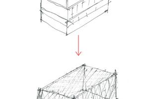 Ausgehend von den Mansardendächern der umgebenden Bebauung enwickelten die Architekten ihren Entwurf für die Landesberufsschule