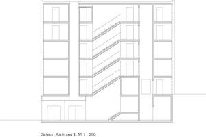 Schnitt AA Fuhlrottstraße Wuppertal Solitär, Haus H 1, M 1:250