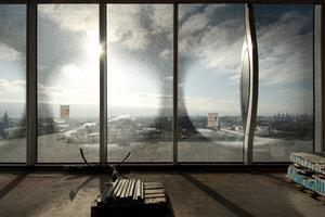 Ausblick aus dem zukünftigen Foyer auf den Hafen 2012