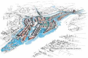 Entwurfsskizze der HafenCity Hamburg