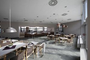Das Café am Foyerende: Hier konnte die manchem Theatermenschen zu behäbig erscheinende Möblierung vor einer Aktualisierung durch hochwertigere Stangenware gerettet werden