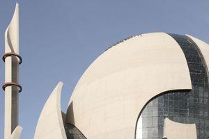 Kuppelausschnitt mit Minarett (Tauben auf dem Dach)