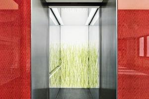 """<div class=""""13.6 Bildunterschrift"""">Besonderes Augenmerk wurde auf die Gestaltung der Aufzugsportale gelegt.</div>"""
