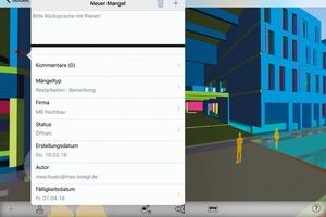 Vor Ort arbeiteten die Bauleiter mit iPads und der App BIM 360 Field. Diese erzeugte ein 3D-Modell, in dem sie an beliebiger Stelle Marker setzen und Aufgaben zuweisen konnten