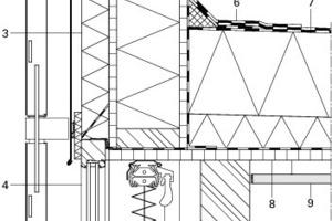 Regelschnitt Holzbaufassade, M 1:15