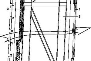 Fassadendetail Jalousie, M 1:75 1 Perforierte Metalloberfläche<br />2 Gedämmte Lamellen<br />3 Primär tragende Stahlkonstruktion