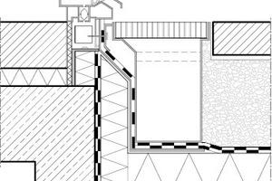 Laut Flachdachrichtlinie (2008) soll die Anschlusshöhe 0,05 bis 0,15 m über dem Oberflächenbelag betragen. Als Sonderlösungen können jedoch bodengleiche Rinnen eingebaut werden