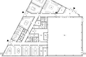 Grundriss Erdgeschoss, Sporthalle, M 1:500
