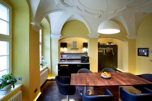 Die Küche: Moderne Gebäude- und Lichttechnik sind in die historische Bausubstanz integriert