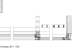 Horizontalschnitt Fenster, M 1:17,5