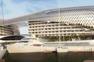 Dieses 5-Sterne Hotel mit ca. 500 Zimmern wird direkt an der Formel1 Rennstrecke auf Yas Island in Abu Dhabi gebaut. Die zwei Teile des Hotels beidseits der Rennstrecke erhalten eine verbindende Hülle auf einer Gesamtlänge von ca. 217 m und auf einer Fläche von ca. 17000m<sup>2</sup>, welche als verglaste Gitterschale ausgeführt wird. Das Hotel befindet sich derzeit noch im Bau<br />