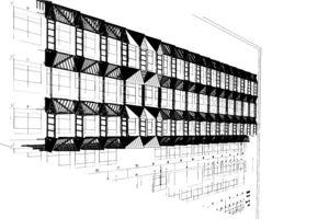 Skizze der Fassaden-Unterkonstruktion aus Aluminium. Das Konstrukt aus Spezialprofilen und Abkantflächen trägt die Putzträgerplatten
