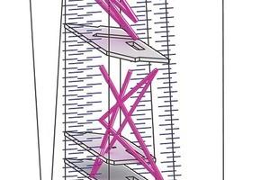 Parametrischer Entwicklungsprozess: Die Anordnung der Streben wurde zunächst zufällig gewählt, dann nach Kriterien wie Steifigkeit und Eigenfrequenz überprüft und anschließend immer weiter optimiert