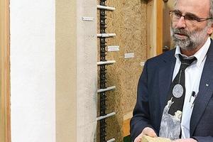 Aus den Blättern der Rohrkolbenpflanze (Typha) entsteht ein natürlicher Dämmstoff, den Dr. Martin Krus (Fraunhofer IBP) erstmals auf der BAU 2013 vorstellte