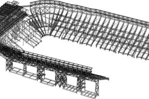 Isometrische Ansicht des Tribühnentragwerks aus der Nord-West-Richtung<br />