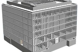 Bild 14 a: Architekturmodell des Multifunktionsgebäudes ThyssenKrupp Aufzugswerke