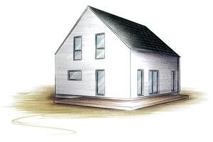 """Aus dem Katalog: das LUX-Haus, """"intelligenter Grundriss"""", """"zeitlose Architektur"""", """"fügt sich elegant in jedes Baugebiet ein"""". Na dann ..."""