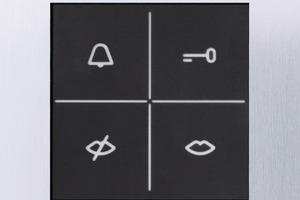 """<span class=""""stdtextstyle"""">Hinterleuchtete Symbole geben neben der akustischen Rückmeldung auch eine optische: Sie zeigen Hörbehinderten, dass es innen geklingelt hat, dass eine Gesprächsverbindung hergestellt und der Türöffner betätigt wurde. </span>"""