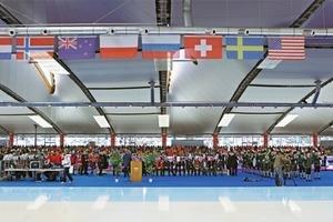 Die Eisschnelllaufhalle in Inzell bei der ERöffnung zur WM<br />