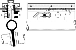 Glasdetail-Befestigungspunktlinks: Horizontalschnittrechts: Längsschnitt