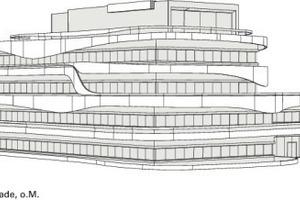 Perspektivische Ansicht Südost- und Nordostfassade, o.M.
