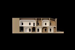 Das Modellfoto zeigt die bestehende Bausubstanz (braun) und die additive Bausubstanz (weiß)