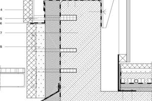 1Natursteinabdeckung  2Ankerplatte zur Revision der Verglasung 3Mineralwolledämmung WLG 035,  d = 12 cm, dunkel kaschiert 4Naturstein, 4 bis 6 cm,  polygonale Platten schräg zum Rohbau 5Hinterlüftung, 4 cm 6Abdichtungsbahn Innenschale 7Stahlbetonbrüstung, d = 26 cm 8Dämmung XOS, d = 10 cm WLG 035