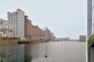 Ansicht Küppersmühle Duisburg Innenhafen mit marodem Stahlgerippe links; rechts die vermutlich unnötig verstärkten Silos