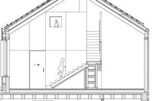 Schnitt, Obergeschoss Spielempore, M 1:150