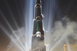 Pompöses Lichtspektakel zur Eröffnung am 4. Januar 2010: Der Burj Chalifa lässt sich feiern<br />