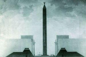 Entwurf aus dem ersten Wettbewerb zur Neugestaltung von Stalingrad von Georgij Oltarzevskij, 1944